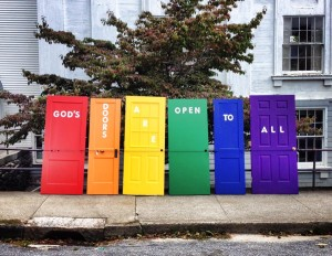 Westfield Congregational Church in Connecticut is one of several ONA congregations that display rainbow doors near their entrance.
