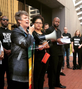 Rebecca Voelkel speaks at Black Lives Matter demonstration.
