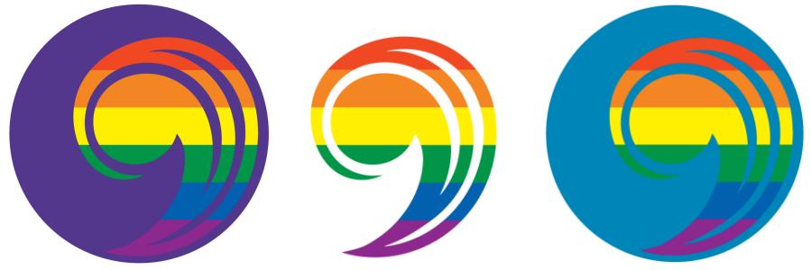 Rainbow Comma Logos